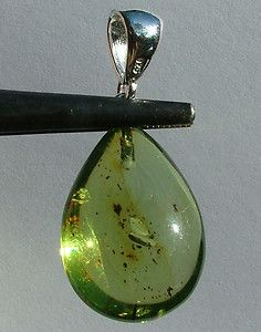 GREEN-BALTIC-AMBER-SILVER-PENDANT with INSECT INCLUSIONS