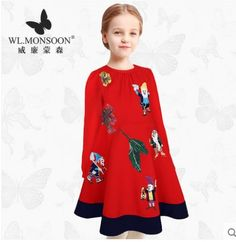 61.00$  Watch here - http://alif9g.worldwells.pw/go.php?t=32760549854 - Girls Dress Long Sleeve 2016 Winter Brand Kids Dresses for Girls Clothes Fairytale Embroidery Christmas Dress Princess Costume