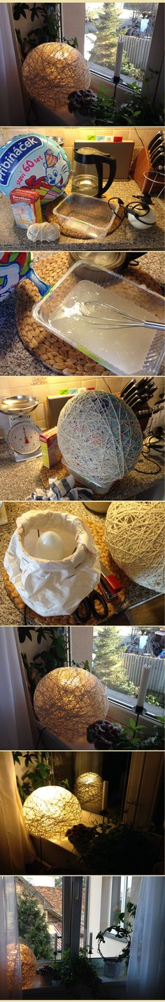 I need a new lampshades! Let´s do it. Tadaa, Home-made cotton lamp :) .