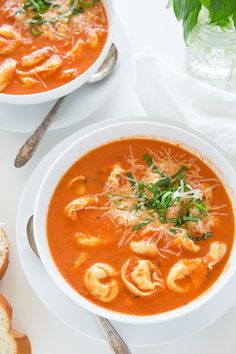 Slow Cooker Creamy Tomato Basil Tortellini Soup | Cooking Classy