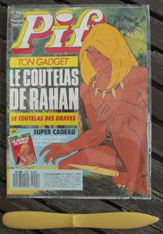 Quand Pif gadget ne nous tentait pas avec le pois sauteur, il le faisait avec un autre objet, le couteau - pur plastique - de Rahan par exemple !