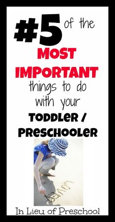 #5 of the Top 5 Most Important Things to Do with Your Toddler/Preschooler - In Lieu of Preschool