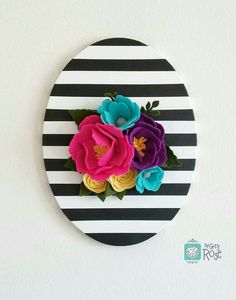 Perfect for a nursery or gallery wall! This stunning hand painted oval canvas is definitely a statement piece to have in your home. Black and white stripe wall hanging. Felt Flowers, Paper Flowers, Felt Crafts, Diy And Crafts, Black Decor, White Decor, Diy Wall Art, Flower Decorations, Diy Home Decor
