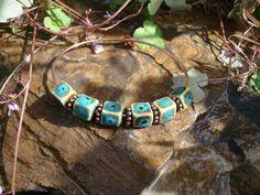 Copper Cuff Bangle  Blue and Cream Ceramic by oldredmaredesigns, $27.00