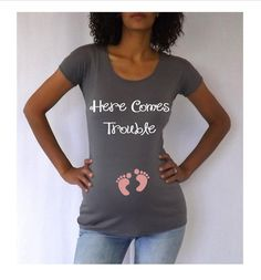 Funny Gray  Maternity Tshirt Here Comes Trouble  in Pink  Choose your Size S,M,L,XL via Etsy