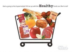 printable shopping cart - use local market sales ads to search for healthy foods