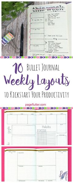 10 Weekly Bullet Journal Layouts to Kickstart Your Productivity Structured Sally Bullet Journal Inspo, Bullet Journal Banners, How To Bullet Journal, Bullet Journal Weekly Layout, My Journal, Journal Prompts, Bullet Journals, Journal Pages, Bullet Journal Index Examples