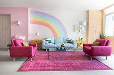 Rainbow Mermaid Unicorn Apartment Makeover for Jessie Paege! Every color of the rainbow is present and accounted for in this fun, lively living room! Girls Bedroom Sets, Big Girl Rooms, Kids Bedroom, Paint For Girls Room, 4 Year Old Girl Bedroom, Room Colors, House Colors, Wall Colours, Rainbow Bedroom