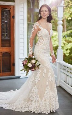 7dddde5f74770 935 Long-Sleeved Floral Patterned Wedding Gown by Martina Liana Mermaid  Trumpet Wedding Dresses,