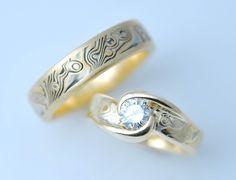 Custom+18k+Yellow+Gold+and+Sterling+Wedding+by+CustomMokumeGane,+$2650.00