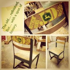 I did this old school chair for my mother inlaw. It is now my desk chair. I completely stripped the chair down to bare metal, primed and painted it. The back I did using John Deere farm grade paints, and baked them into the wood. This was done so that it would last, even if it were to be completely sanded down.