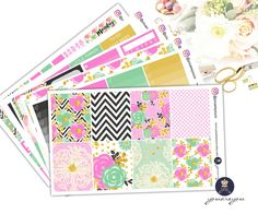Planner Stickers weekly Kit, Golden Bloom planner stickers for Erin Condren life planner by youareyouco on Etsy
