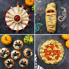 4 Amazing Halloween Pizza recipes: From Spider Pizzas and Witches Fingers to Mum., 4 Amazing Halloween Pizza recipes: From Spider Pizzas and Witches Fingers to Mummy Pizza and Pizza Dip, these recipes are sure to help you get any par. Halloween Pizza, Halloween Desserts, Comida De Halloween Ideas, Postres Halloween, Hallowen Food, Halloween Party Snacks, Halloween Dinner, Halloween Cupcakes, Halloween Kids