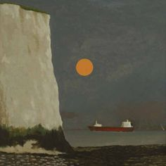 'Tanker and Moon' by David Inshaw, 2011 Landscape Drawings, Landscape Art, Landscape Paintings, Landscapes, Nocturne, Moonlight Painting, Tate Gallery, Sketch Inspiration, Rainbow Art