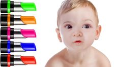 Learn Colors with Baby and Colorful Lipstick Finger Family Nursery Rhyme...