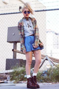 Plaid shirt by Ralph Lauren with Sunglasses, Tattoo Choker, Guitar Pick Necklace, Cargo Aviator Coat, Calvin Klein Crop Top, Denim Circle Skirt & Skechers Boots