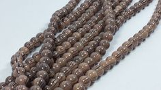 Lot of 2 Mocha Swirled Glass Beads 14 inch strands