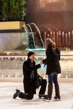 Ice skating at Rockefeller Plaza proposal! How cute!!