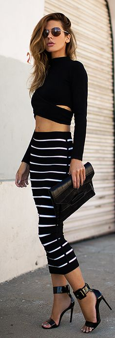Striped Maxi Skirt by