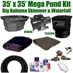 "35 x 35 Mega Koi Pond Kit 10,000 GPH Pump Big Bahama Skimmer & Waterfall MA4 by Patriot. $2617.50. 3"" x 50' FreezeFlex PVC Hose, 3"" Check Valve, (3) 20 Watt Rock Light with 60 Watt Transformer, All Installation Hardware & Directions. 35 x 35 EPDM LifeGuard Liner (lifetime warranty) and 1,225 Square Feet of Underlayment, PS15000 Big Bahama Skimmer, BF3800 Big Bahama Filtering Waterfall, MS-10,000 GPH Monsoon Hybrid Drive Pump. Liftgate Service is Not Included. ..."