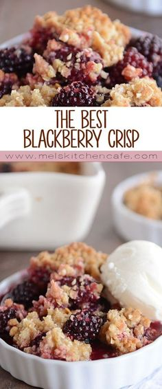 The Best Blackberry Crisp This amazing blackberry crisp loaded with juicy fruit and a buttery crisp topping is simple and so delicious! Even better, you can use other berries, too. Think of it as an all-purpose, best-ever fruit crisp! Fruit Recipes, Sweet Recipes, Cooking Recipes, Blackberry Dessert Recipes, Fruit Crisp Recipe, Blackberry Pie, Fresh Blackberry Crisp Recipe, Black Raspberry Cobbler, Blackberry Ideas