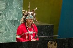 """Indigenous peoples around the world face significant challenges that are related to widespread historical wrongs, including broken treaties and acts of oppression and misguided government policies, that today manifest themselves in disadvantages and impediments to the exercise of their individual and collective rights."" Tadodaho Sid Hill, Chief of the Onondaga Nation, at the opening of the UN Permanent Forum on Indigenous Issues' twelfth session. – UN/Rick Bajornas"