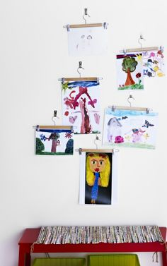 Display children's artwork as it's hanging up to dry with BUMERANG skirt hangers.