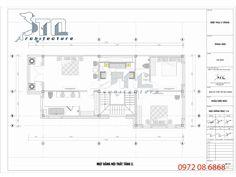 Mặt bằng tầng 2 - Mẫu thiết kế biệt thự 3 tầng diện tích 144m2 5 phòng ngủ
