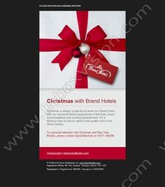 Company:    Brend & Sons Hotels Ltd.   Subject:    Christmas with Brend Hotels             INBOXVISION is a global database and email gallery of 1.5 million B2C and B2B promotional emails and newsletter templates, providing email design ideas and email marketing intelligence http://www.inboxvision.com/blog