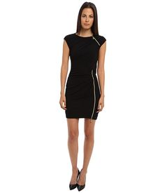 Versace Jeans Cap Sleeve Dress with Zipper Detail