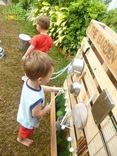 A great idea for outdoor play. The children get to make some noise and explore sound without disturbing classrooms next door. My only edit: S-hooks and a variety of materials which could be hung or moved around to change the sound.