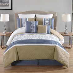 Ibrahim 8-Piece Embroidered Comforter Set in Blue/Taupe