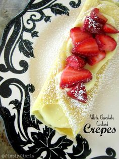 Crêpes Filled With White Chocolate Custard