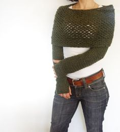 This trendy and versatile wrap around shrug is a quick and easy project. It looks great either with a casual outfit or with a sexy pair of jeans. It is warm and comfortable, the perfect accessory for any occasion, convertible into a winter scarf. Crochet this for yourself or as a gift for your loved one!  Level: beginner, basic crochet stitches required. Easy to read written form pattern. Size: Adult XS, S, M, L, XL Materials: - crochet hook size 5mm/US H8 - 900-1000yds yarn For the knit…
