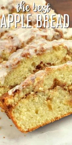 Sweet and lightly spiced Cinnamon Apple Bread is pure homemade comfort in loaf form. Topped with a sweet vanilla frosting! Baked Apple Dessert, Apple Dessert Recipes, Dessert Bread, Apple Recipes, Delicious Desserts, Breakfast Recipes, Apple Deserts, Dinner Recipes, Yummy Food