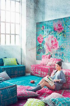 Tapestry trend - beautiful.  Love the stitchery hanging on the wall.