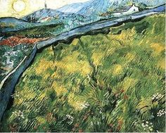 Vincent van Gogh, Field of Spring Wheat at Sunrise - 1889 on ArtStack #vincent-van-gogh #art