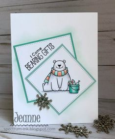 This Tuesday I'm the hostess at TWO - challenges CAS Colours & Sketche s and Splitcoast Stampers Color Challenge . Homemade Birthday Cards, Homemade Cards, Bear Card, Mft Stamps, Animal Cards, Winter Cards, I Card, Stamp Card, Card Sketches