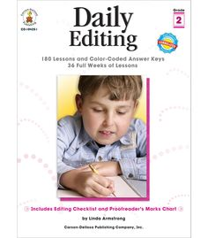 Foster the development of conventions and editing skills through frequent, focused practice using Daily Editing for students in grade 2. The book includes 180 activities that cover topics such as capitalization, punctuation, grammar, spelling, and sentence structure. The activities are presented as various writing examples, including journal entries, letters, and e-mails. This 192-page book includes practice pages, reviews, a proofreader's marks chart, an editing checklist, a grammar…