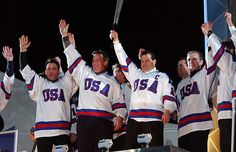 Lighting the Olympic Flame in Salt Lake City in 2002:  Front row:  Neal Broten, Dave Silk, Mike Eruzione and Buzz Schneider.