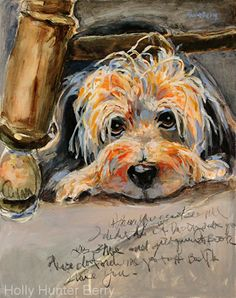 """Daily Painters Abstract Gallery: Dog Painting,Pet Portrait """"Trouble"""" by Texas Artist Holly Hunter Berry"""