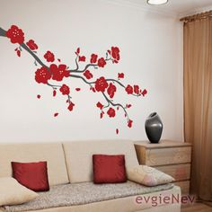 Cherry Blossoms Branch Wall Vinyl Decal BRCB010R by evgieNev. $58.00, via Etsy.