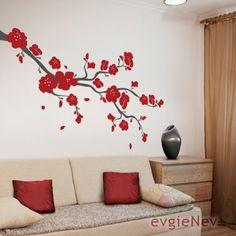 Cherry Blossoms Branch Wall Vinyl Decal BRCB010R by evgieNev. $58.00, via Etsy.