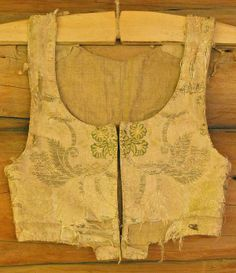 Silk brocade, hand woven&stitched from mid 1700's, Gudbrandsdal.