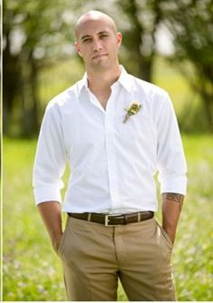 white silk shirt and khaki pants wedding - Google Search