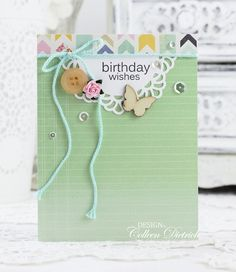 Minty Birthday Wishes | Dietrich Designs - birthday card using Papertrey Ink Daily Designs Sentiments stamp, wooden butterfly from Studio Calico, sequins from Pretty Pink Posh, vintage button, doily die cut from My Favorite Things, yarn from Stampin' Up!, papers from American Crafts