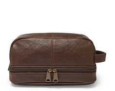 New FOSSIL Mens Brown Leather Estate Multi Zip Travel Shave Kit Toiletry Bag e32d0d716449f