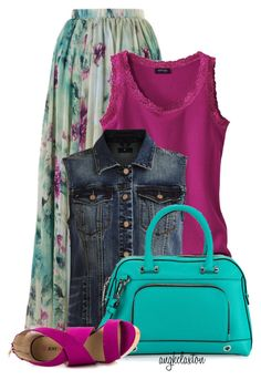 A fashion look from March 2015 featuring purple top, dark blue denim vest and floral print long skirt. Browse and shop related looks. Modest Outfits, Summer Outfits, Cute Outfits, Modest Clothing, Tween Fashion, Curvy Fashion, Womens Fashion, Chambray Skirt, Purple Skirt