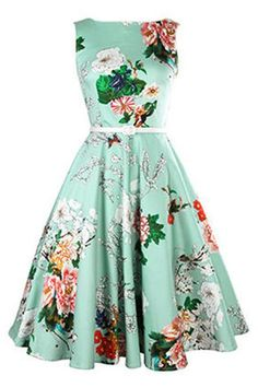 $12.89 Vintage Jewel Neck Floral Print Sleeveless Belted A-Line Dress For Women