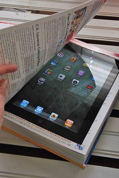 Ipad hoes gemaakt van een boek en nog meer ideetjes voor laptop/ipad hoezen
